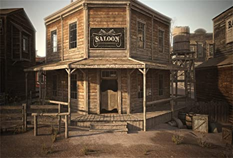 Laeacco 10x65ft Dusk Wild West Old Saloon Doorway Vinyl Photography Background Western Theme Backdrop Cowboy Portrait Shoot Desolate Small Town
