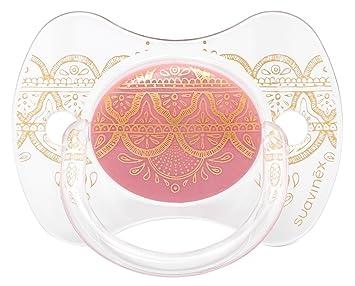 Chupete premium Suavinex Couture con tetina fisiológica de silicona, diseño étnico en tonos rosas y dorados, para bebés de 4 a 18 meses.: Amazon.es: Bebé