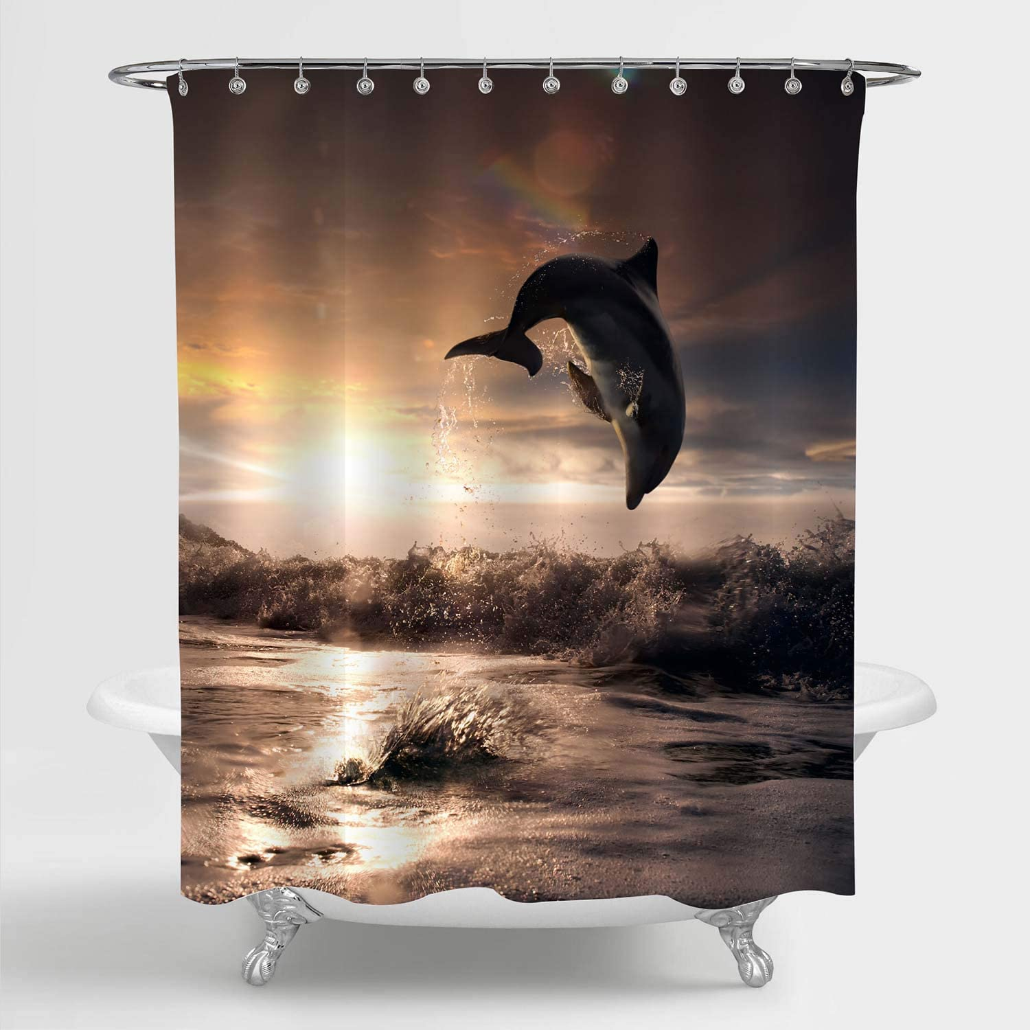 """MitoVilla Beautiful Dolphin Jumping Over Breaking Waves Shower Curtain, Hawaii Pacific Ocean Wildlife Sunset Scenery Photograph Bathroom Accessories for Tropical Themed Home Decor, Gold, 72"""" W x 72"""" L"""