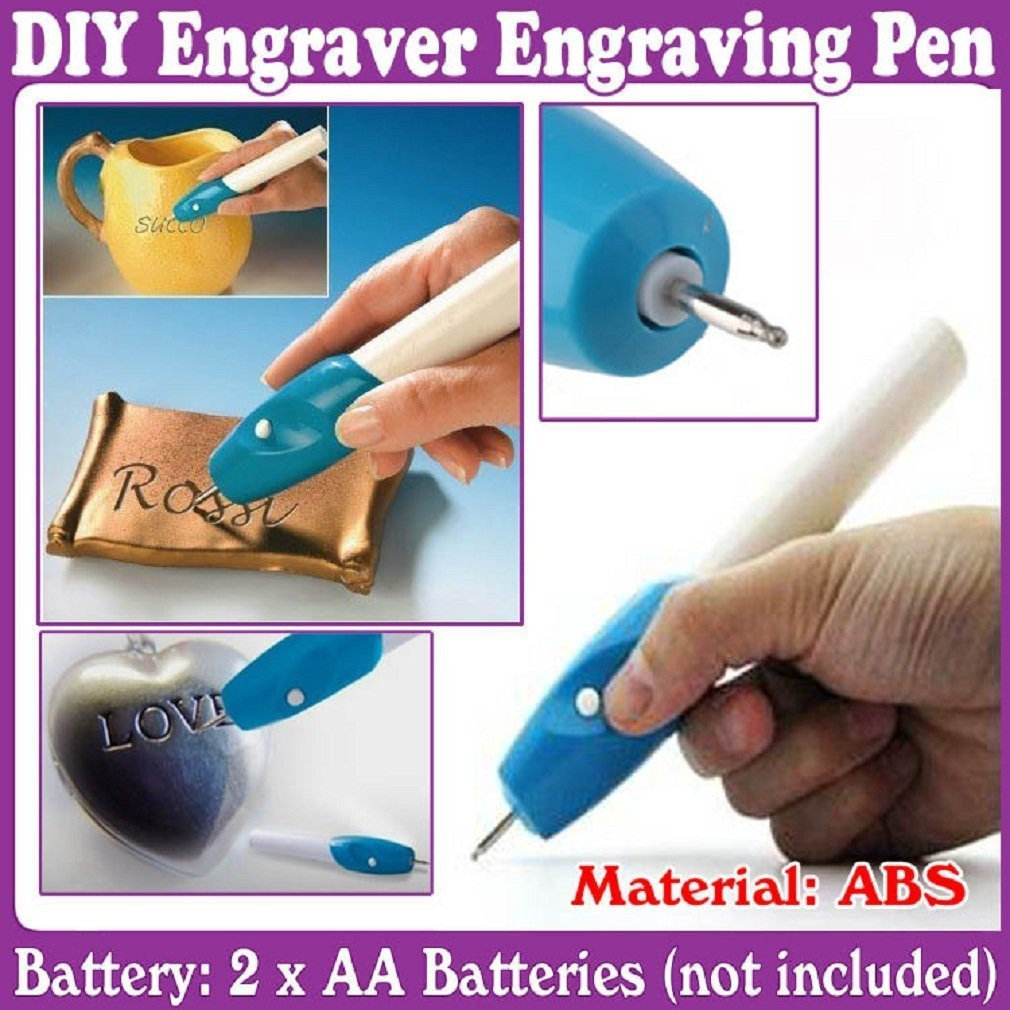Okayji Engraver Etching Engraving Pen for All Glass Metal Plastic Wood  (Blue and White) - Set of 1