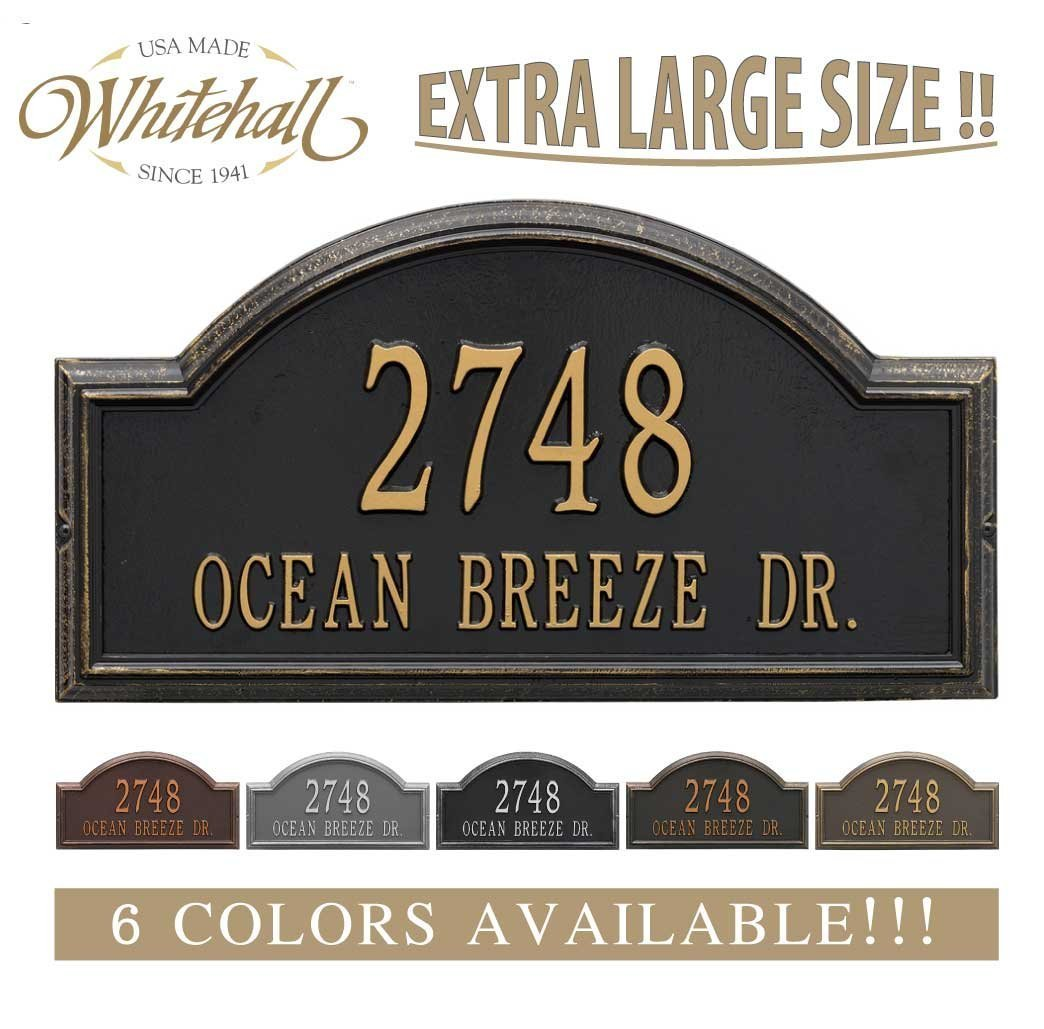 Personalized Cast Metal Address plaque - The Providence Arch (Large Option, 22.5'' wide) . Display your address and street name. Custom house number sign. by Metal Address Plaque