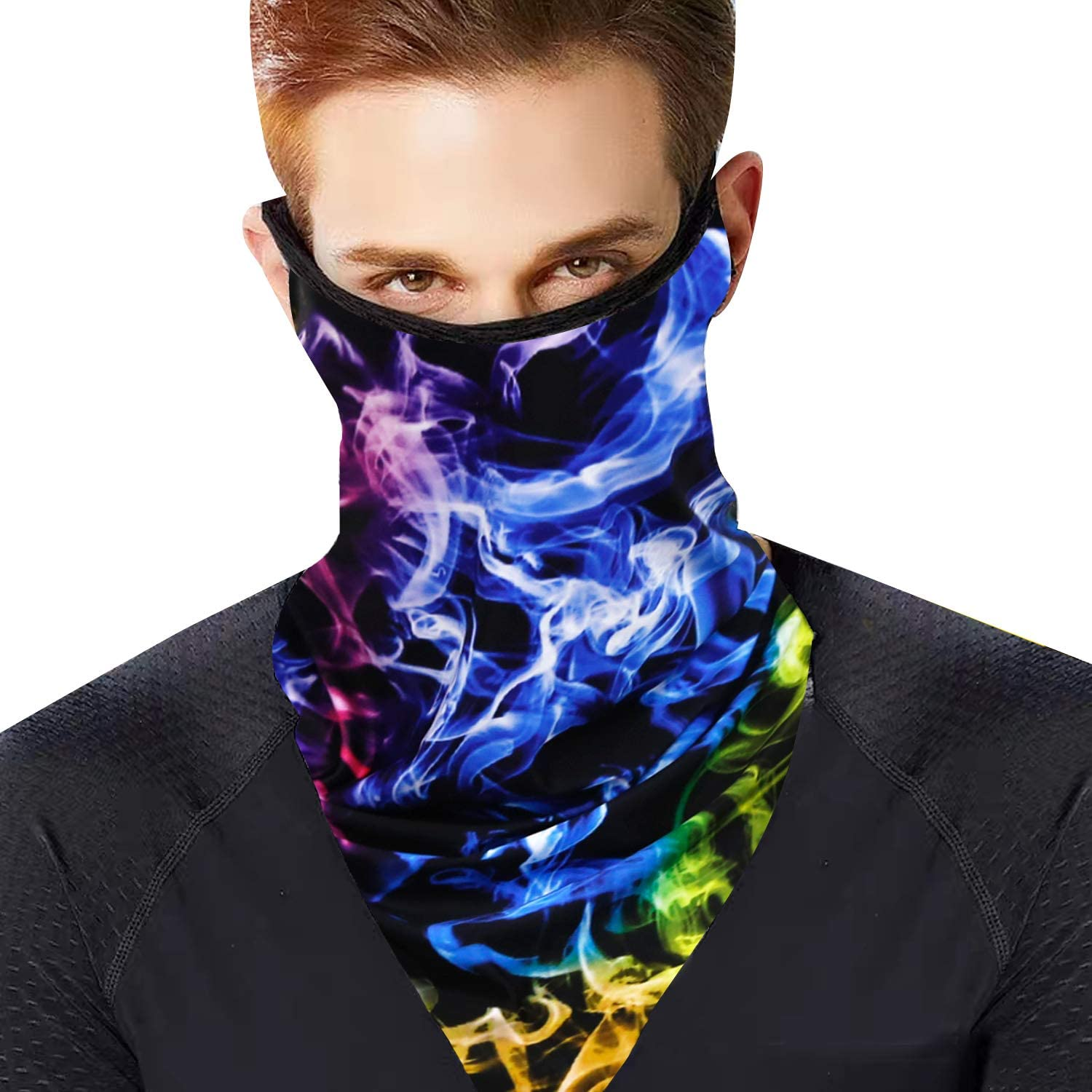 Face Bandana with Ear Loops Breathable Balaclava Scarf Men Women Neck Gaiters for Dust Wind