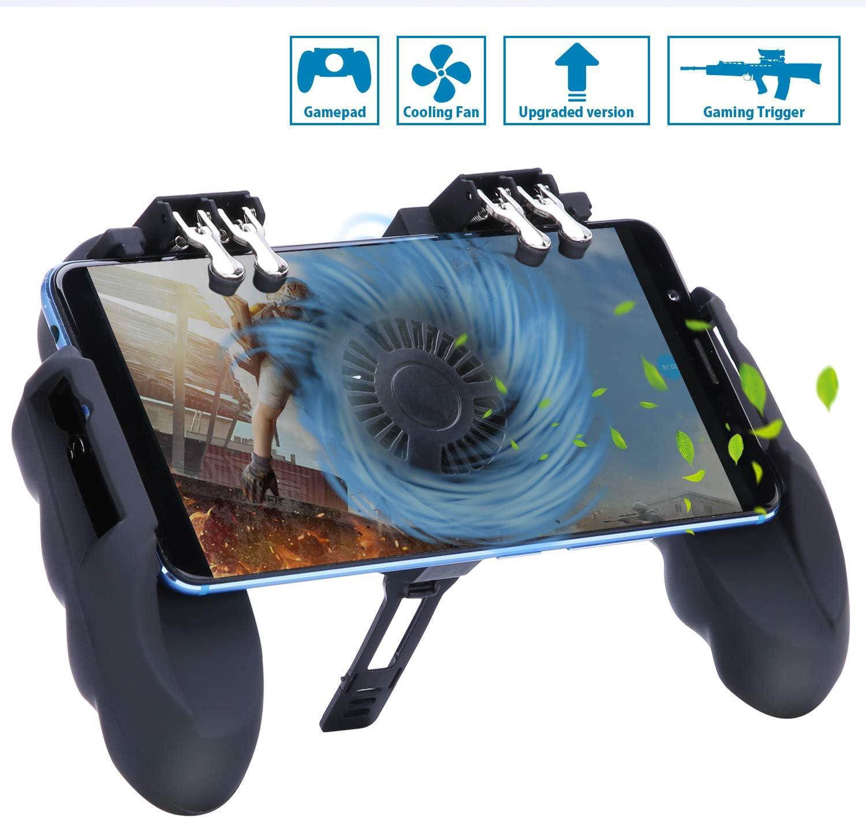 Sensible de Disparo Gamepad para Android y iOS Controlador de Juego M/óvil con Soporte para tel/éfono Ajustable y Ventilador de Enfriamiento HEYSTOP Mando Movil PUBG Operaci/ón con Seis Dedos