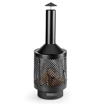 Blumfeldt Essos • Chimenea para jardín • Brasero de terraza • Estufa de leña • Exterior • Cámara de 45cm • Atizador • Rejilla Protectora • Estilo rústico ...