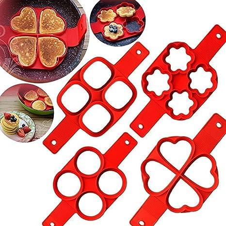 HUVE Antiadherente Moldes de Silicona Pancake, Fabricante de panqueques de Silicona Antiadherente Reutilizable Molde de