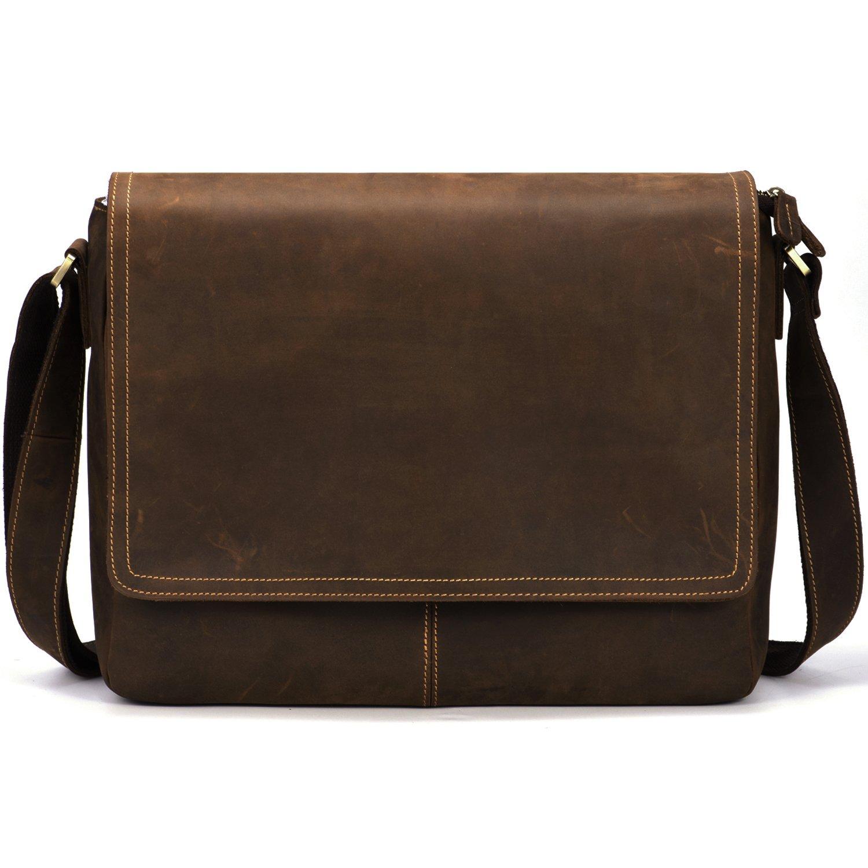 Kattee Vintage Leather Business Messenger Bag Fits 15 Laptop