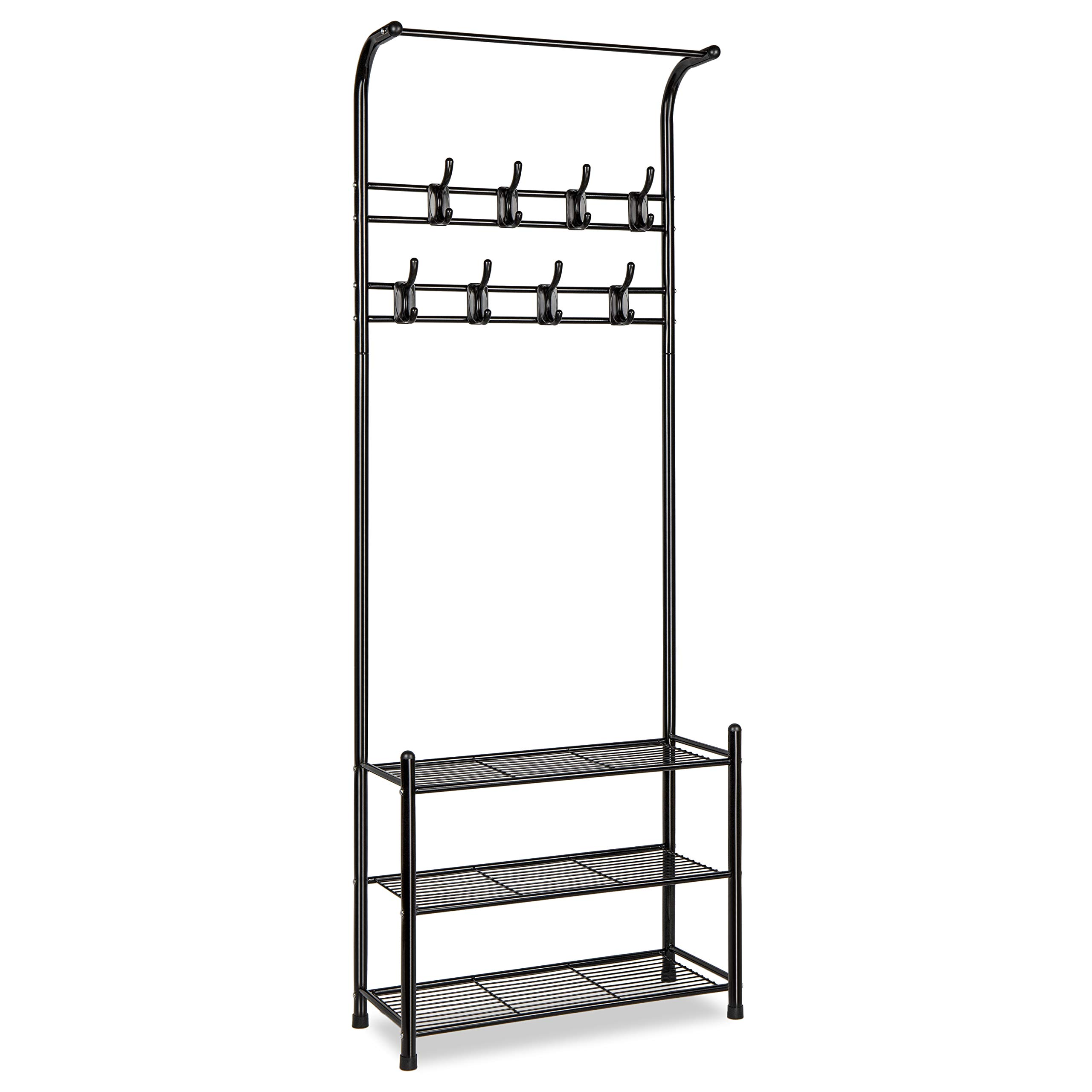 alvorog Entryway Coat Rack Shoe Bench, 3-in-1 Hall Tree, 3-Tier Storage Shelves with 16 Hooks Multifunctional Hallway Organizer, Easy Assembly (Black) by alvorog