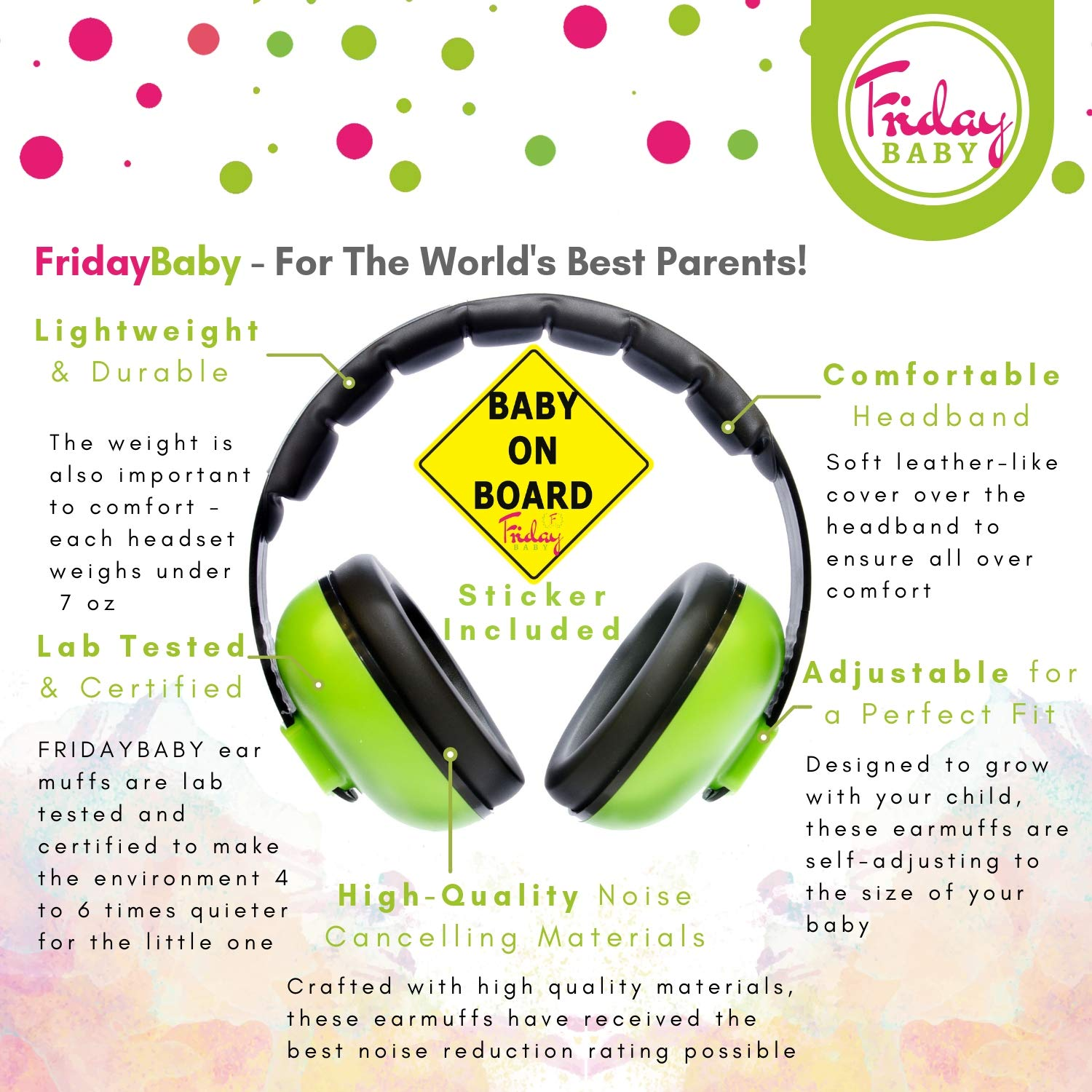 Baby Ear Protection - Comfortable and Adjustable Premium Noise Cancelling Headphones for Babies, Infants, Newborns (0-2+ Years) | Best Baby Headphones Noise Reduction for Concerts, Fireworks & Travels by Friday Baby (Image #1)