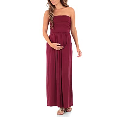 c7d4e0e5e50 Rags and Couture Women s Strapless Maxi Tube Maternity Dress with Pockets  Burgundy