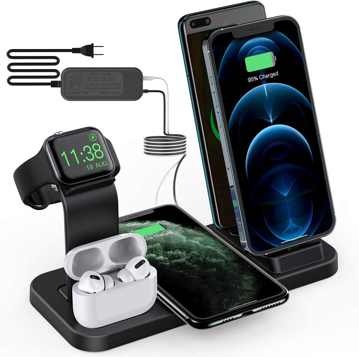 BeaSaf Wireless Charger,5 in 1 Wireless Charging Station for iPhone Samsung, USB C Dock Station for Android Phones, Charging Stand for Apple Watch Series 6 /SE/5/4/3/2/1 AirPods Pro 2 1 Black