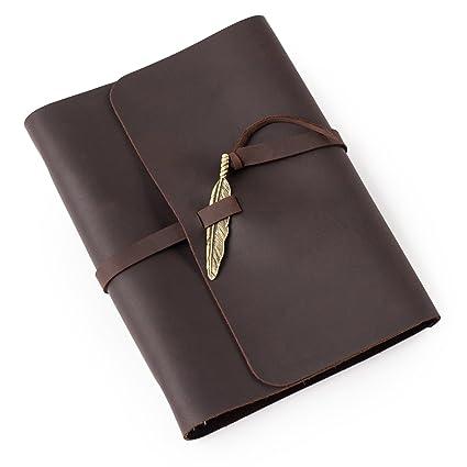 Ancicraft suave cuero diario diario Notebook con Retro Pluma ...