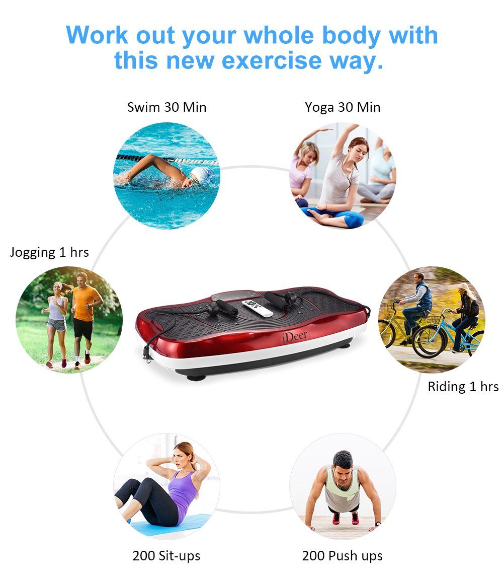 iDeer Vibration Platform Fitness Vibration Plates,Whole Body Vibration Exercise Machine w/Remote Control &Bands,Anti-Slip Fit Massage Workout Vibration Trainer Max User Weight 330lbs (Red09006) by IDEER LIFE (Image #6)