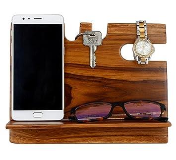 Mojopanda Teak Wood Office Desk |Desktop| Wooden Phone Docking Station With  Key Holder,
