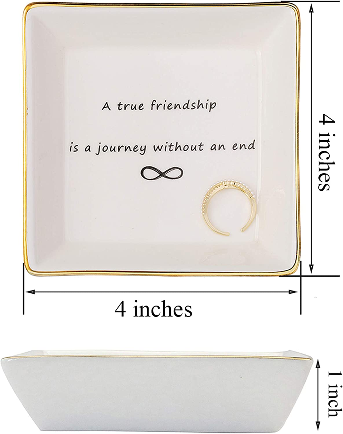Joycuff Friend Jewelry Dish Home Decor Trinket Dish Best Friendship Gifts-Cute Classy Fashion Gifts for Birthday Chrismas Women Men