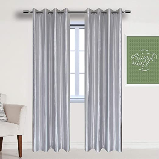Amazon.com: WUBODTI Silver Grey Blackout Window Door Curtains 2 Panels of  Modern Room Darkening Thermal Insulated Grommet Drapes and Curtains 84 Inch  Length for Bedroom Living Room Window Treatments Solid Gray: Kitchen