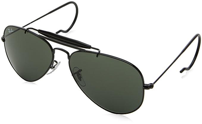 f6a1d684b8 Ray-Ban Outdoorsman - Marco negro lentes de vidrio verde 58 mm no  polarizados