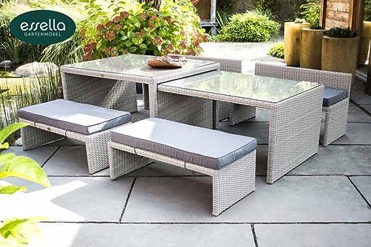 essella Palermo - Conjunto de muebles de jardín (8 personas, ratán sintético), Color blanco vintage.: Amazon.es: Jardín