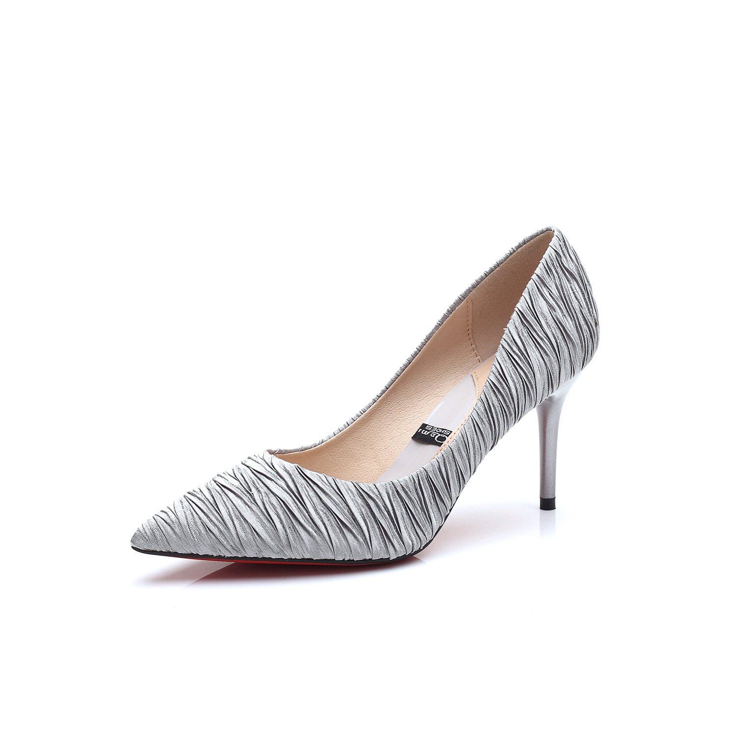 Tip of the high-heel shoes single shoes women with fine satin embossed career Han edition, gray 35