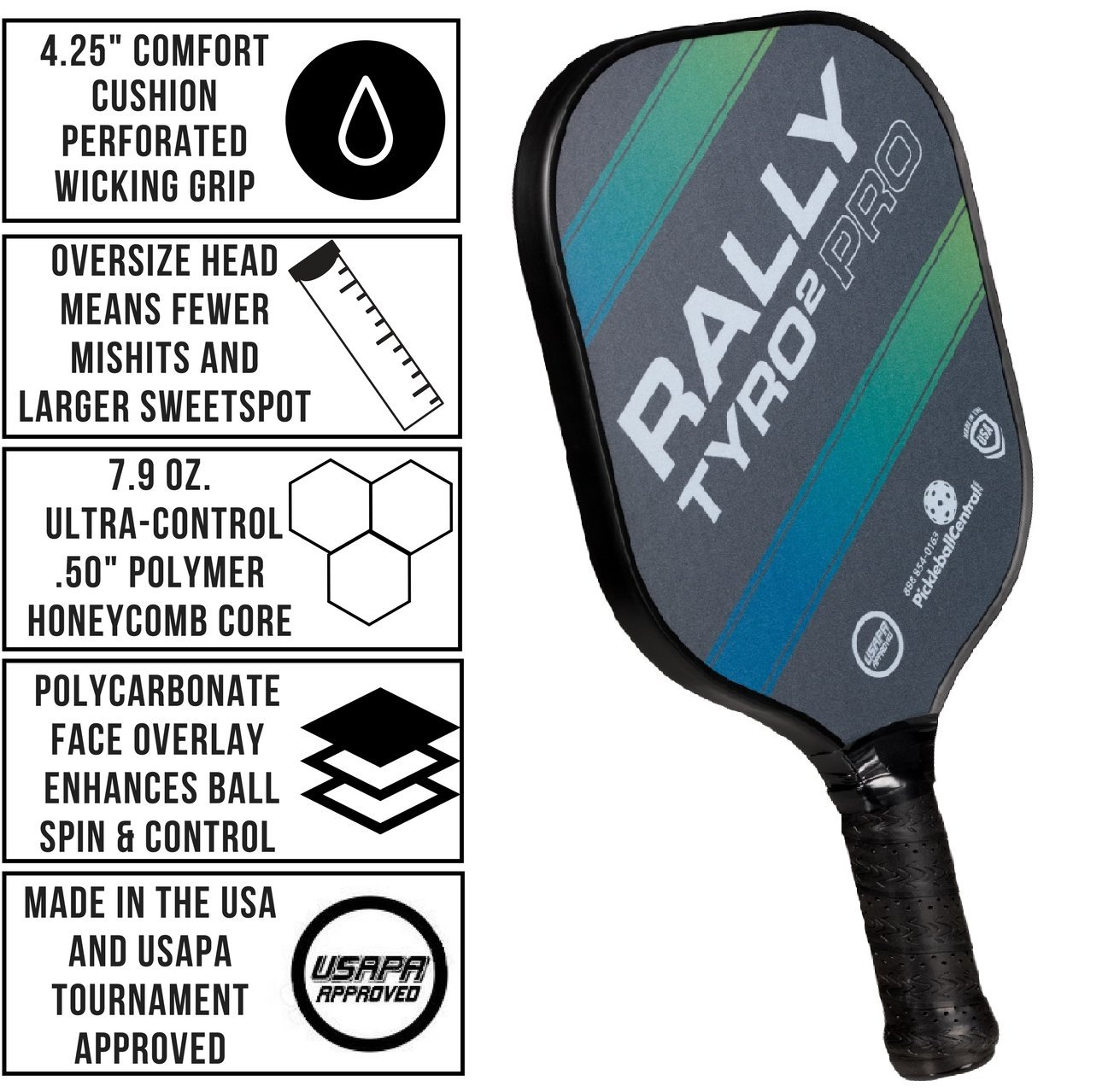 Rally Tyro 2 Pro Pickleball Paddle (2 Paddles / 4 Ball Bundle - Ocean Blue) by PickleballCentral (Image #2)