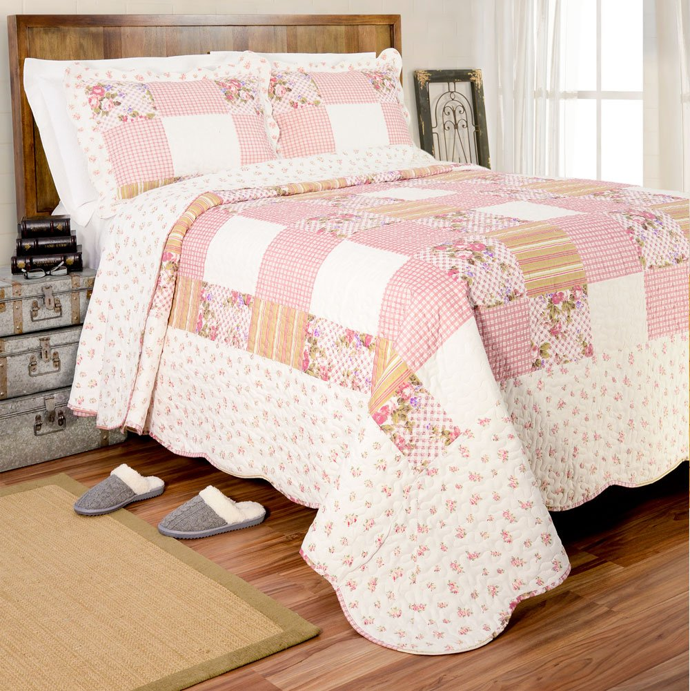 Pegasus Home Fashions Vintage Collection Helena Quilt Plus Sham Set, King