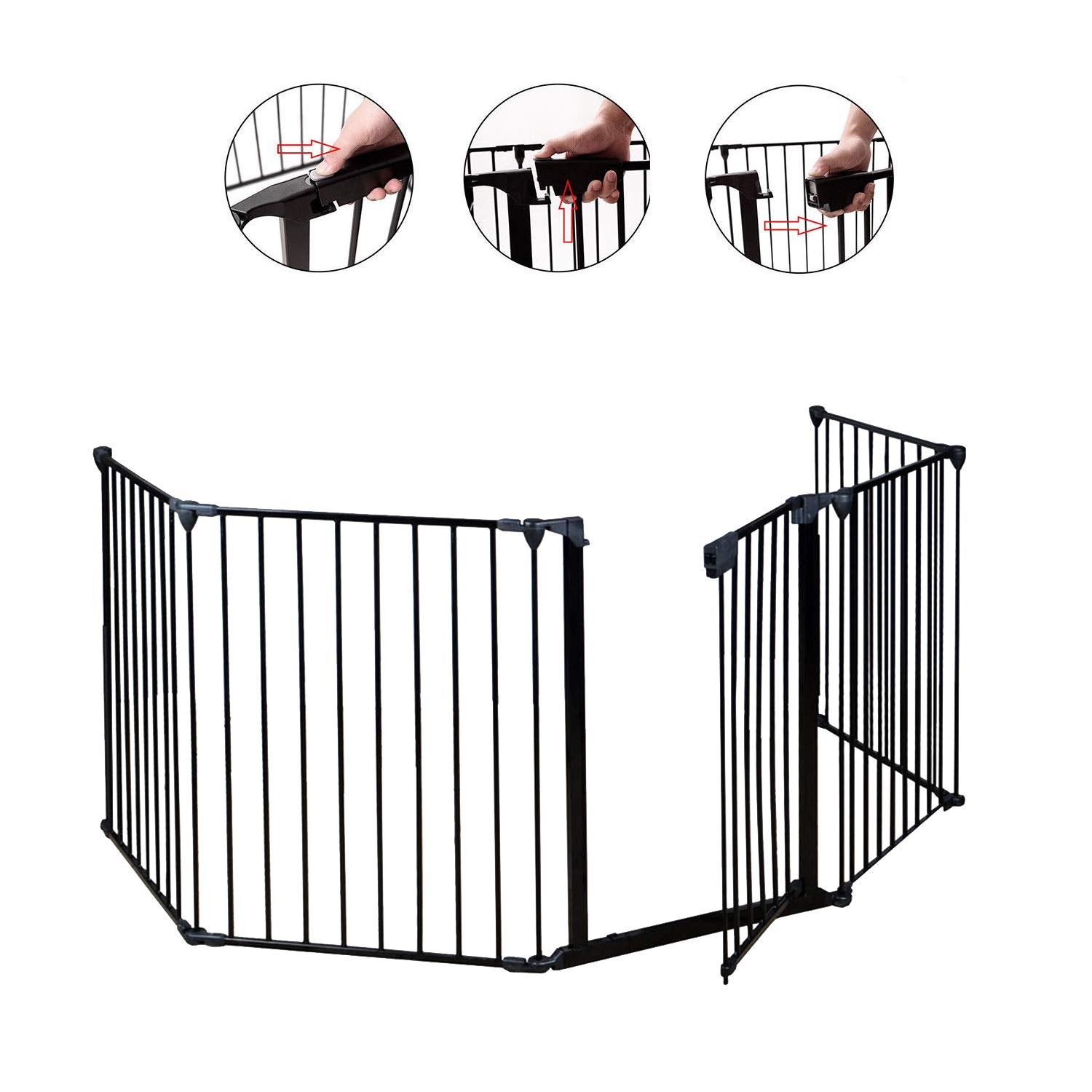 I-Choice Baby Safety Gate, Fireplace Fence, Metal Pet Gate, Walk Through Gate with Door, Home or Outdoor Play Yard for Child/Toddler / Kids/Dogs, Foldable