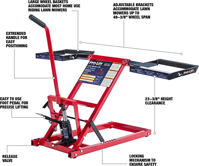 500 Lb Riding Lawn Mower Lift Maintenance Jack Folding Universal ZTR Wheel Pads