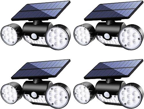 Outdoor Solar Lights,Fatpoom 30 LED Solar Security Light with Motion Sensor Dual Head Spotlights IP65 Waterproof 360 Adjustable Solar Motion Lights Outdoor for Front Door Yard Garden 4 Pack
