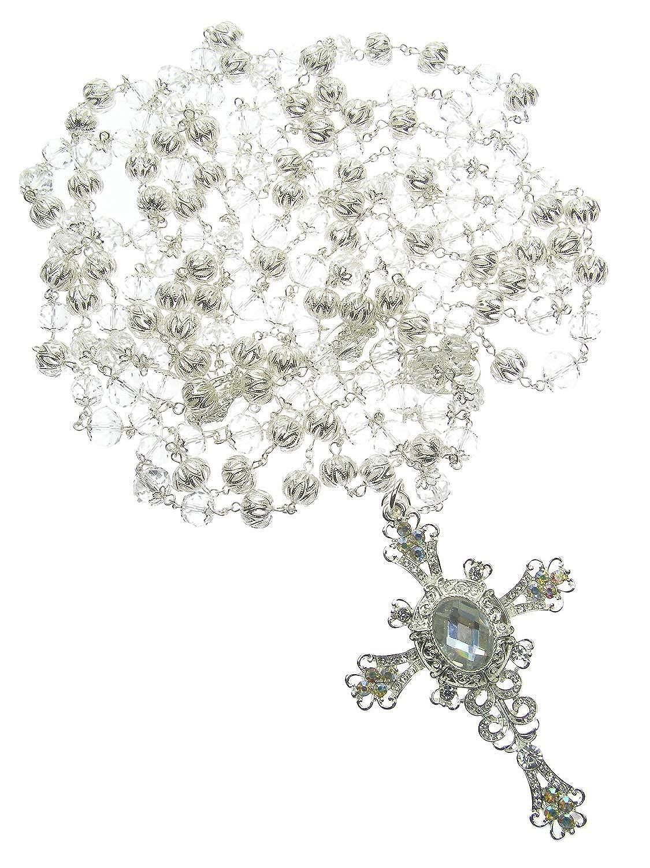 DivaDesigns Hispanic Traditional Wedding Filigree Crystal Beads Cross Lasso 109