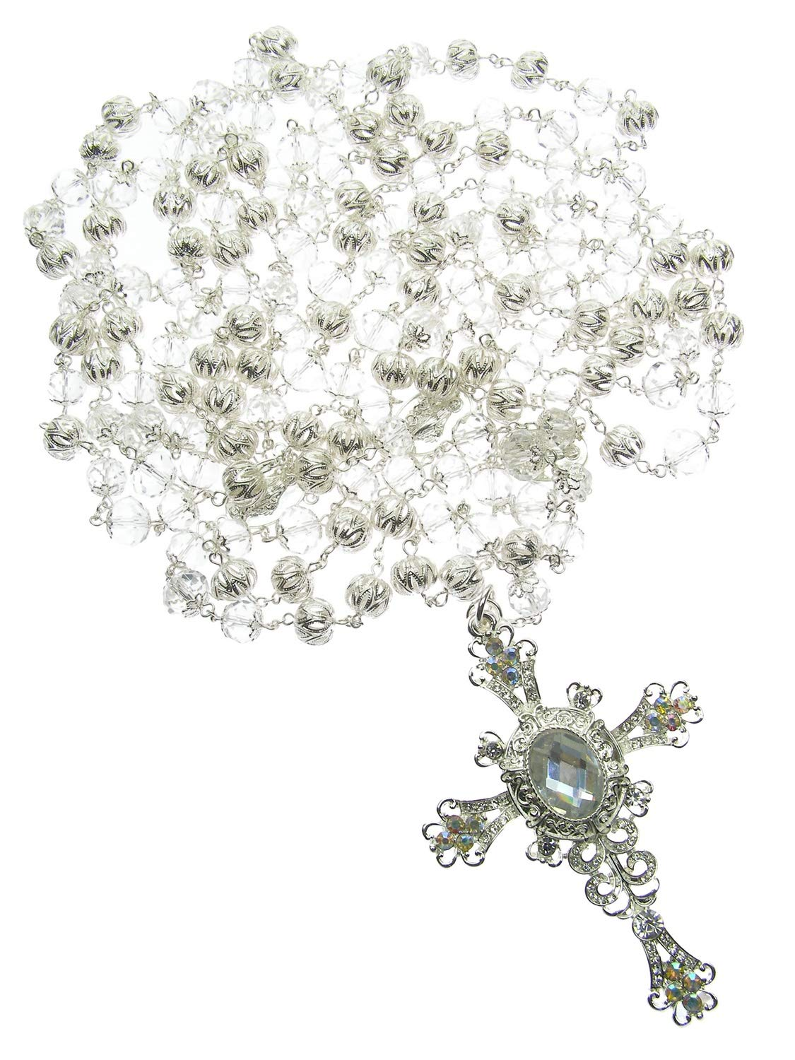 DivaDesigns Hispanic Traditional Wedding Filigree Crystal Beads Cross Lasso 109 - Silver Tone/AB