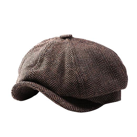 9a77478970f GESDY Mens Vintage Newsboy Ivy Cap Flat Octagonal Golf Driving Hat ...