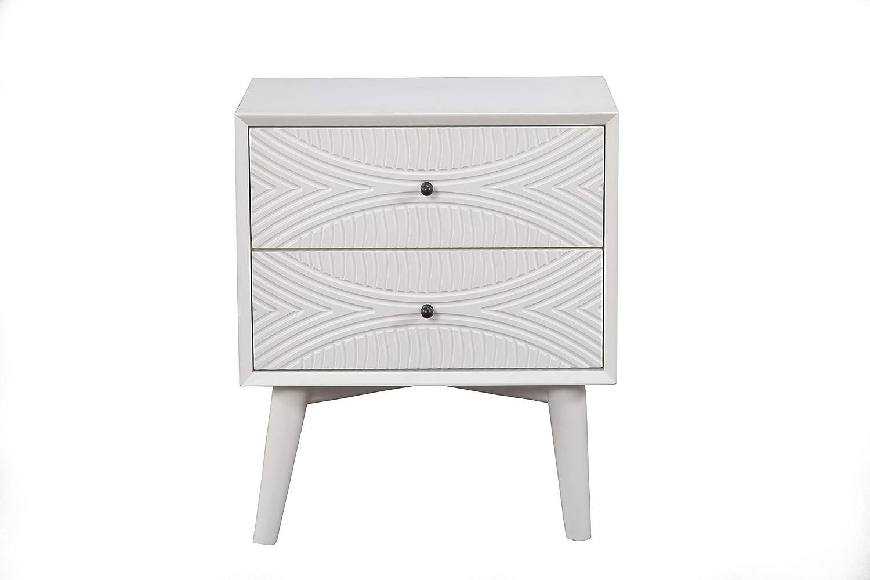 Alpine Furniture Tranquility 2 Drawer Nightstand, 22 W X 16 D X 26 H, white