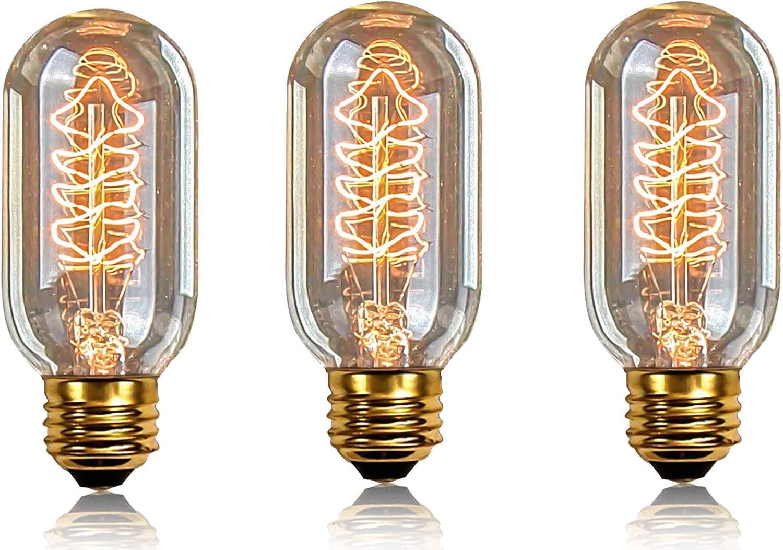 XIHOME Pack of 3 Bulbs,Edison Style Decorative Light Bulb,Vintage Lamp Screw E26,Dimmable T45 60W,Loft Lights Antique Spiral Filament Decor Lighting,Tube Lamps 3 Pcs 110V-130V 60Hz