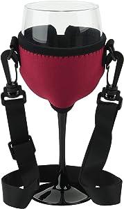 Beautyflier Wine Glass Insulator / Drink Holder Neoprene Sleeve with Adjustable Neck Strap For Wine Walk