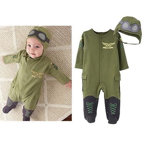 58eb6701e Minizone 2 Piezas Bebé Piloto Mameluco + Sombrero Conjunto Recién nacido  Pelele para Niños Niñas