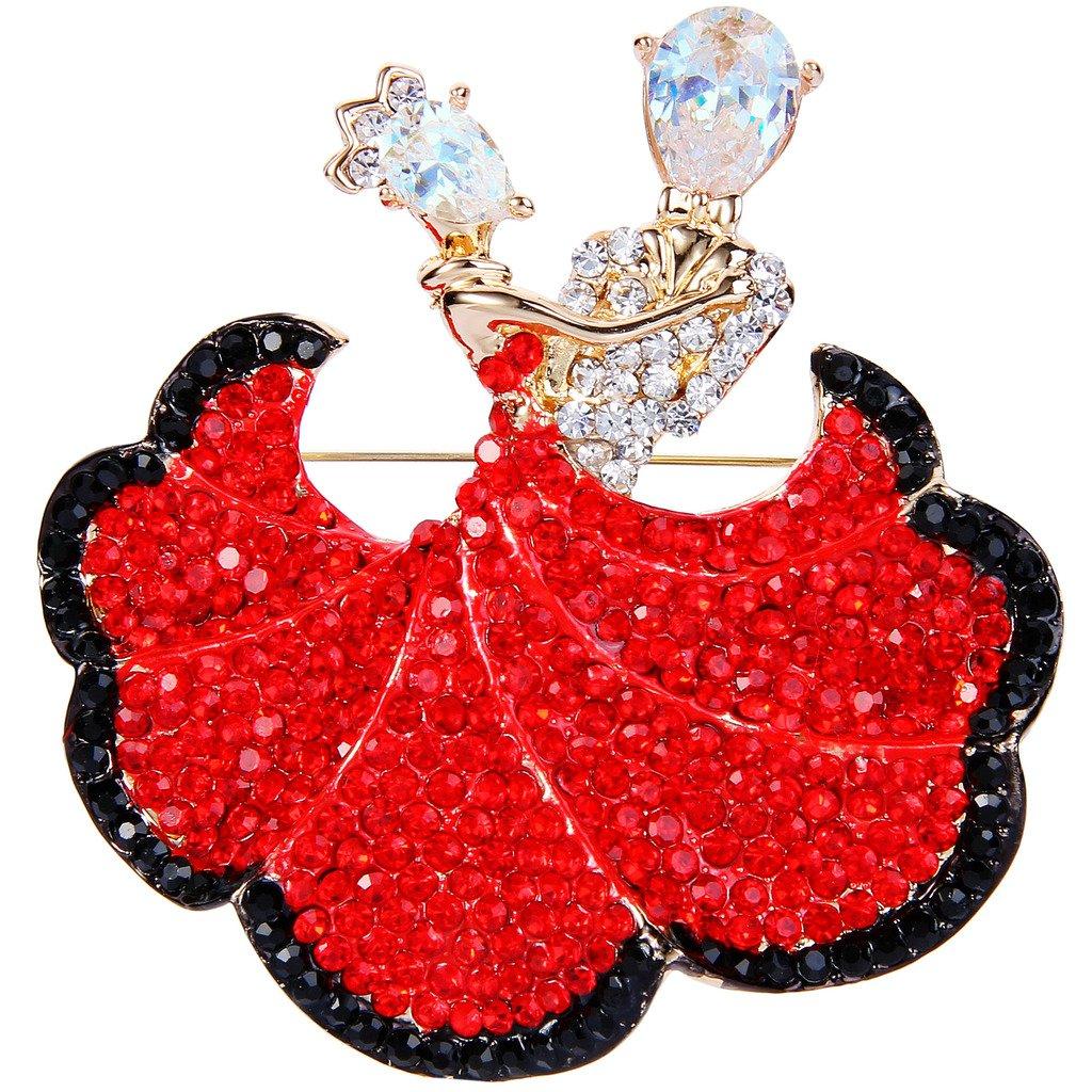 EVER FAITH Austrian Crystal Zircon Romantic Ballroom Dancing Couple Brooch Ruby Color Gold-Tone