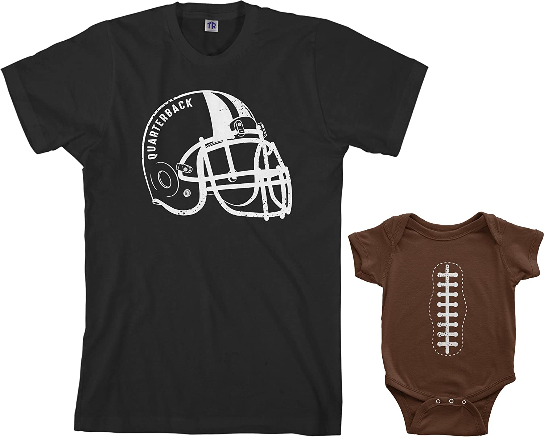 Threadrock Quarterback & Football Infant Bodysuit & Men's T-Shirt Matching Set