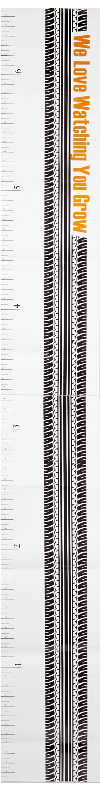 One Grace Place Teyo's Tires Growth Chart Decal, Black, White, Grey, Orange