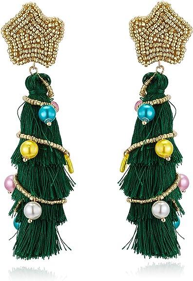 Women Party Christmas Tree Earrings Ear studs Green Dangle Drop Gold Plating