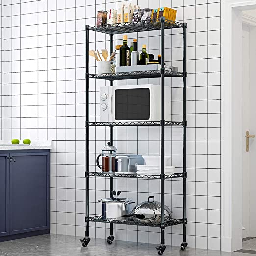 LENTIA Küchenregal stabil Lagerregal Standregal 10 Regalböden Metallregal  Regal für küche Haushaltsregal mit Rollen Schwarz 1107 * 310 * 710cm bis zu 10