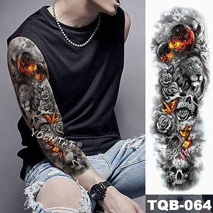 Tatuaje impermeable con un tatuaje de león de brazo grande: Amazon ...