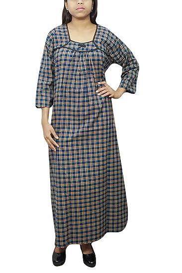 cde79e0bb8 Indiatrendzs Women Bedroom Wear Nighty Blue Check Print Woolen