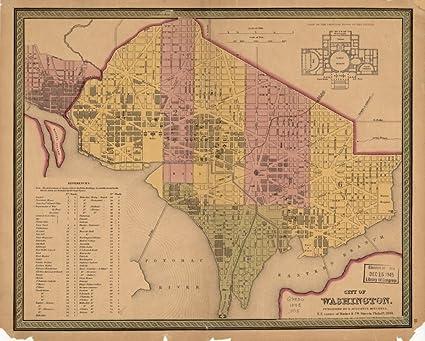 Map Of United States Washington Dc.Amazon Com Vintage 1848 Map Of City Of Washington Georgetown