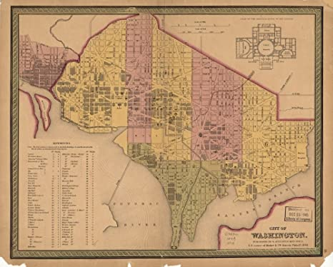 Amazon.com: Vintage 1848 Map of City of Washington ...
