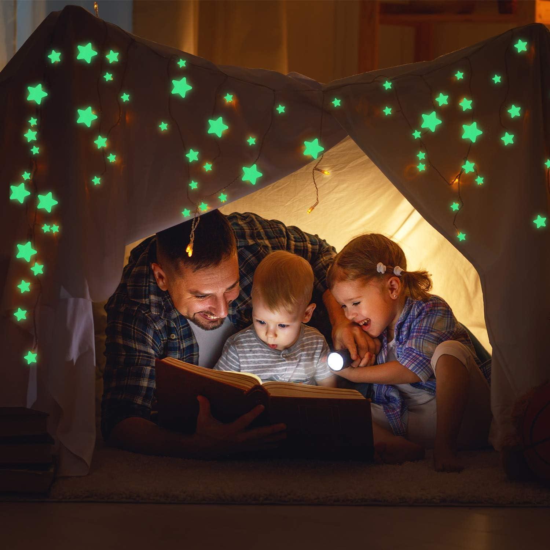 453 St/ücke Leucht Aufkleber Leuchten in Sternen Wand Sterne Abziehbilder Leucht Sterne Mond Aufkleber Decke und Wand 3D Wand Aufkleber Leuchtende Klebstoffe Abziehbilder f/ür Schlafzimmer