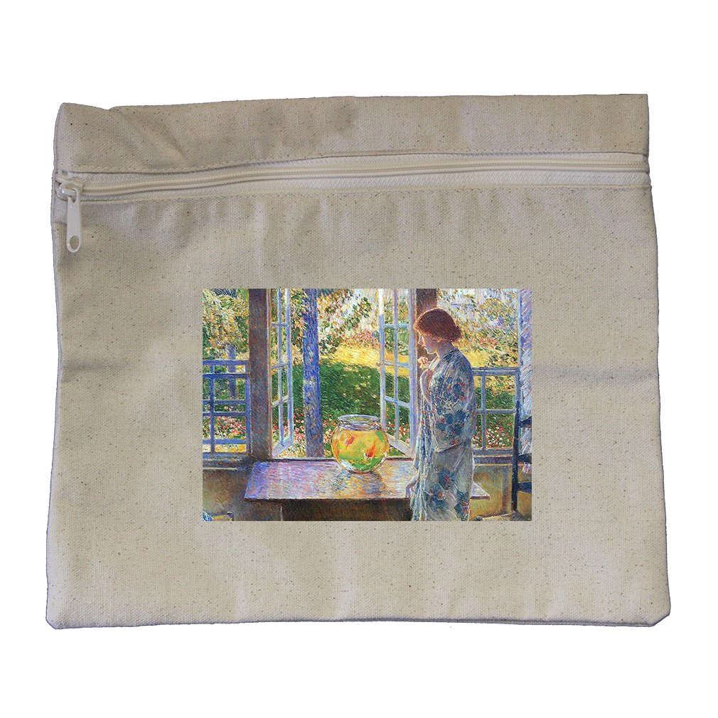 The Goldfish Window (Hassam) Canvas Zippered Pouch Makeup Bag