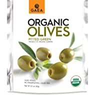 Gaea Organic Snack Pack Pitted Green Olives with Sea Salt and Lemon Juice - 2.3 oz (Pack of 8)