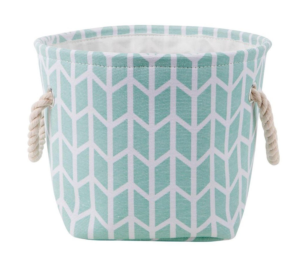 KASA Toy and Nursery Storage Basket with Handles, Mint Green, 26x26x21 Centimeters