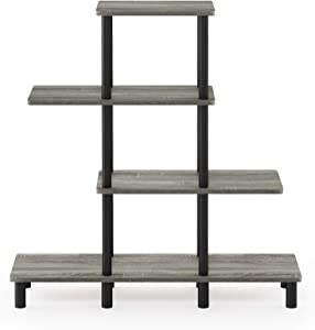 Furinno Turn-N-Tube 4-Tier Design Display Rack, French Oak Grey/Black