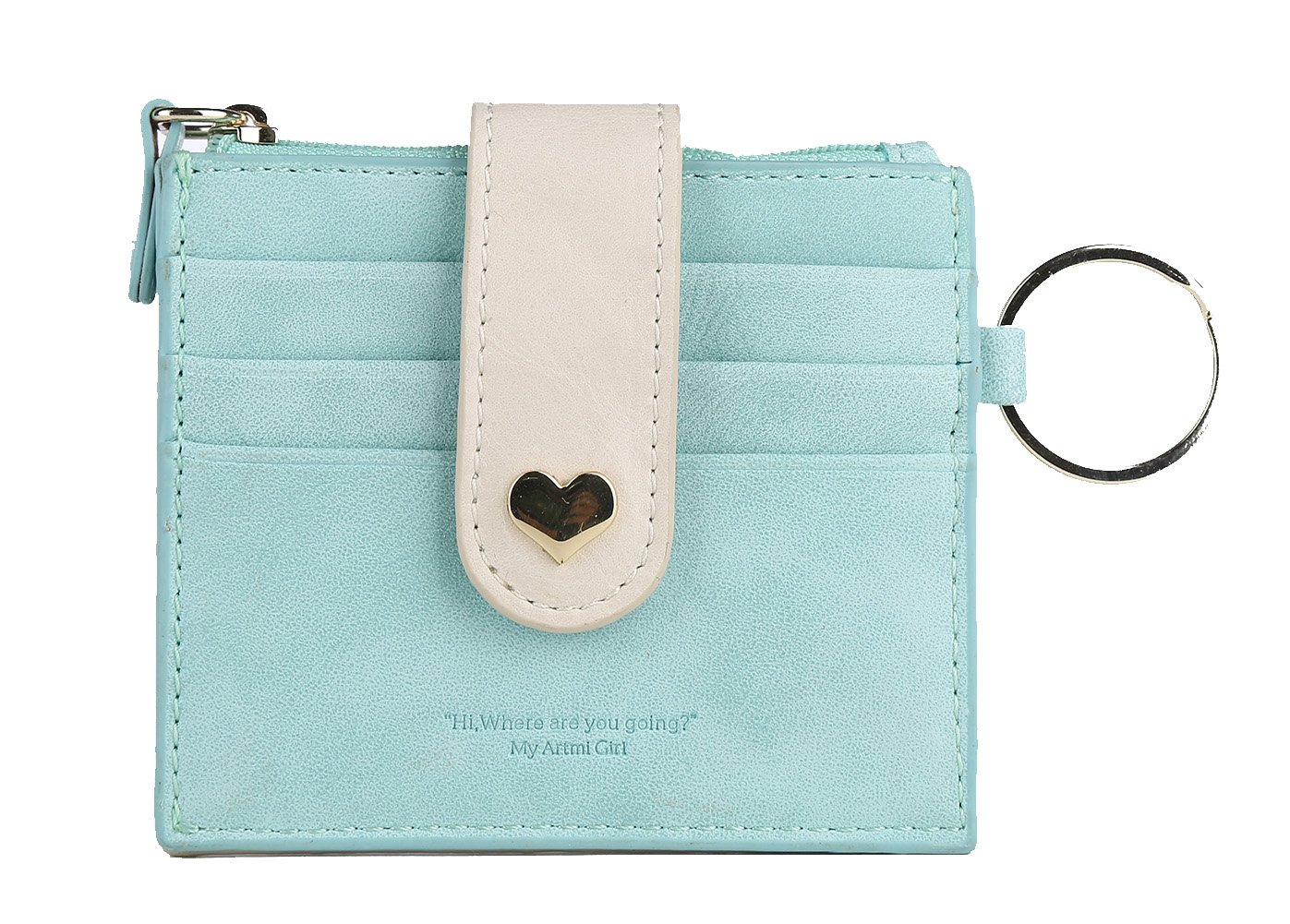 Artmi Womens Card Holder RFID Card Case Girls Wallet Vibrant ID Card Sleeve with Key Ring (Blue)