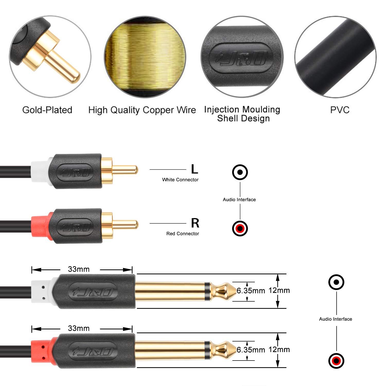 6 Feet Chapado en Oro J/&D Cable de 2X 6,35 mm a 2RCA Audiowave Series 2 x 6,35mm 1//4 Macho TS a 2 RCA Macho C/áscara de PVC Est/éreo Adaptador de Audio y Divisor RCA Cable
